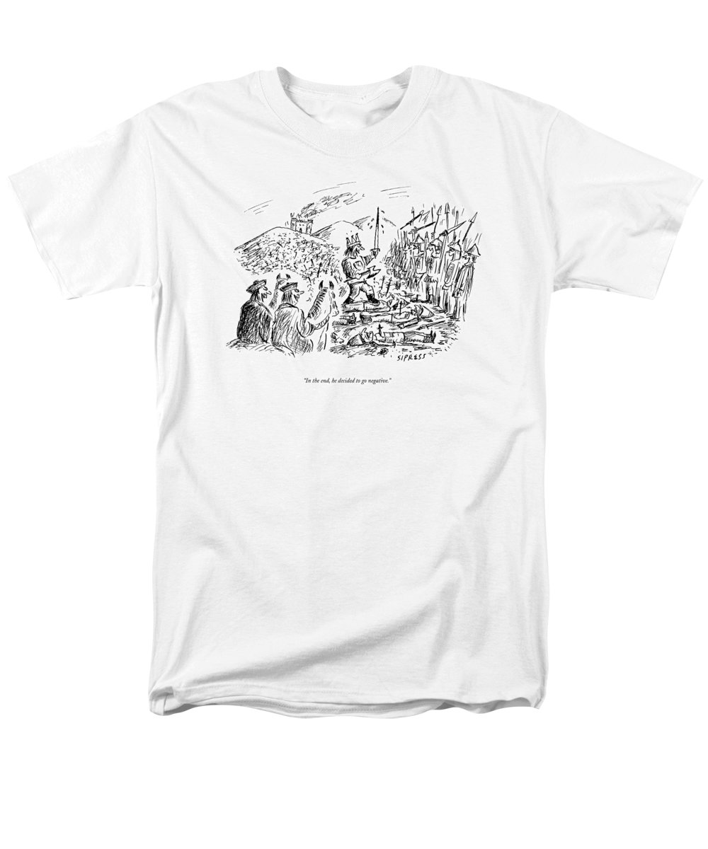 Kings Men's T-Shirt (Regular Fit) featuring the drawing In The End, He Decided To Go Negative by David Sipress
