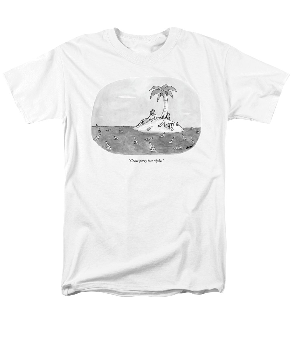 Rescue Drinking Alcohol  Sme Sam Means (two Men On A Desert Island Surrounded By Bottles.) 120672 Men's T-Shirt (Regular Fit) featuring the drawing Great Party Last Night by Sam Means