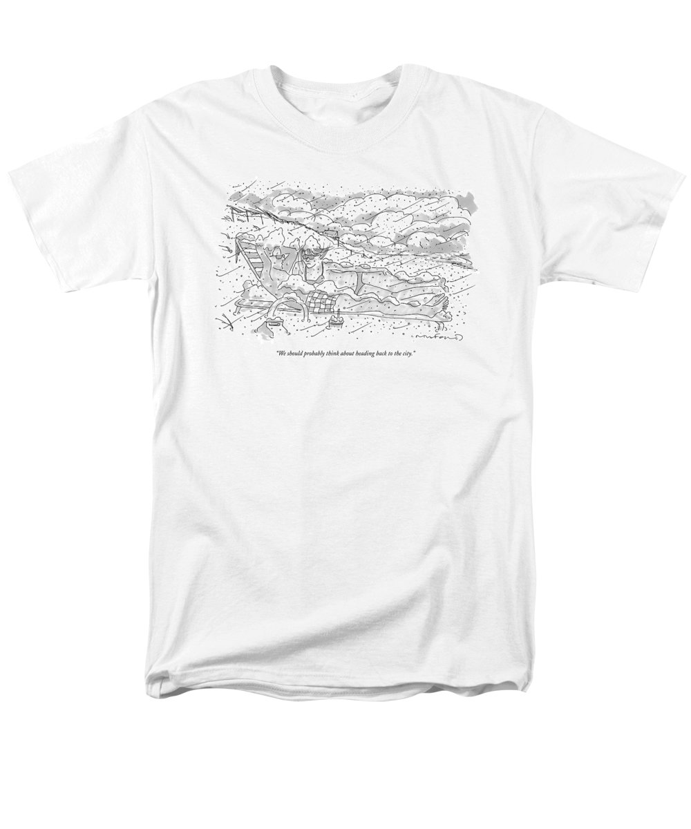 Seasons Winter Problems Vacations Leisure  (couple In Their Bathing Suits Men's T-Shirt (Regular Fit) featuring the drawing We Should Probably Think About Heading Back by Michael Crawford