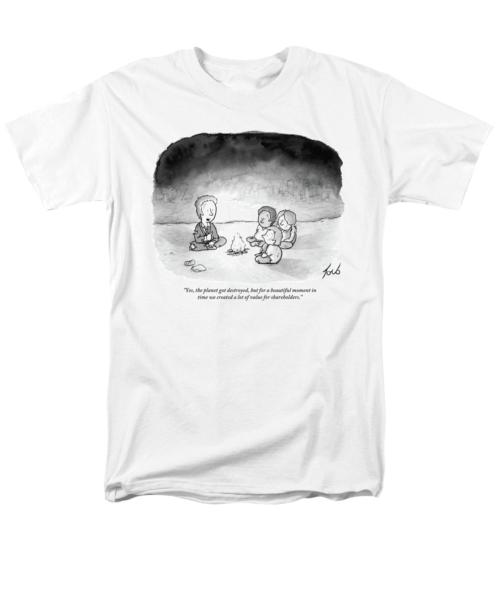 Armageddon Men's T-Shirt (Regular Fit) featuring the drawing A Man And 3 Children Sit Around A Fire by Tom Toro