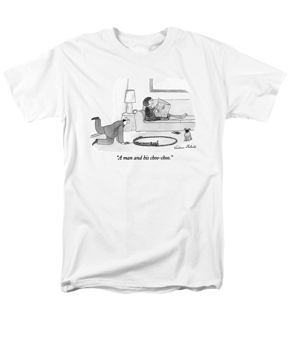 Jan. 3 Men's T-Shirt (Regular Fit) featuring the drawing A Man And His Choo-choo by Victoria Roberts