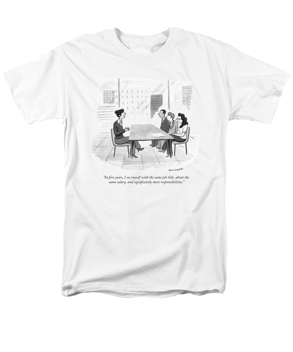 Interview Men's T-Shirt (Regular Fit) featuring the drawing A Woman At A Job Interview by Drew Panckeri