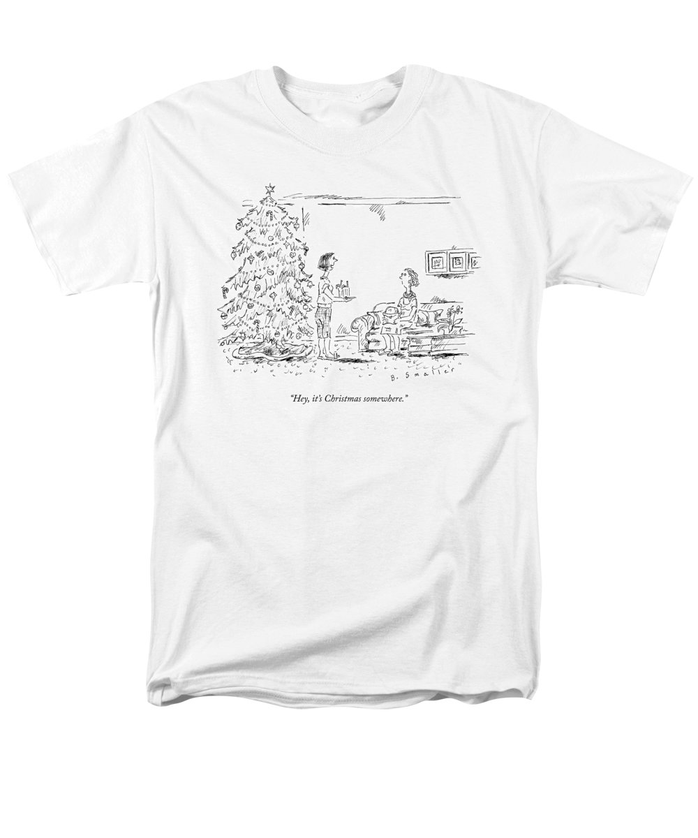It's Five O'clock Somewhere Men's T-Shirt (Regular Fit) featuring the drawing A Woman Serving Summer Drinks by Barbara Smaller