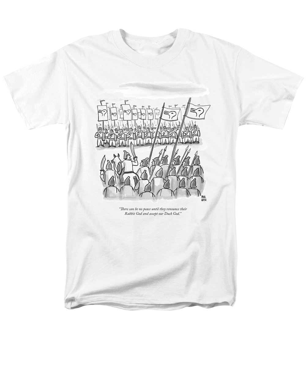 War Men's T-Shirt (Regular Fit) featuring the drawing An Army Lines Up For Battle by Paul Noth
