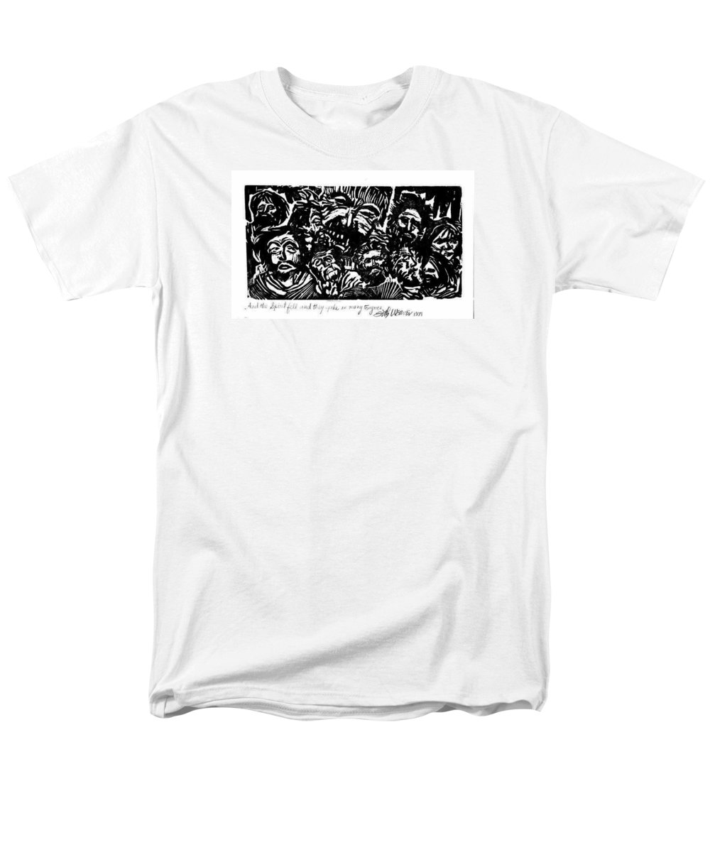 And The Spirit Fell Men's T-Shirt (Regular Fit) featuring the relief And the Spirit Fell by Seth Weaver