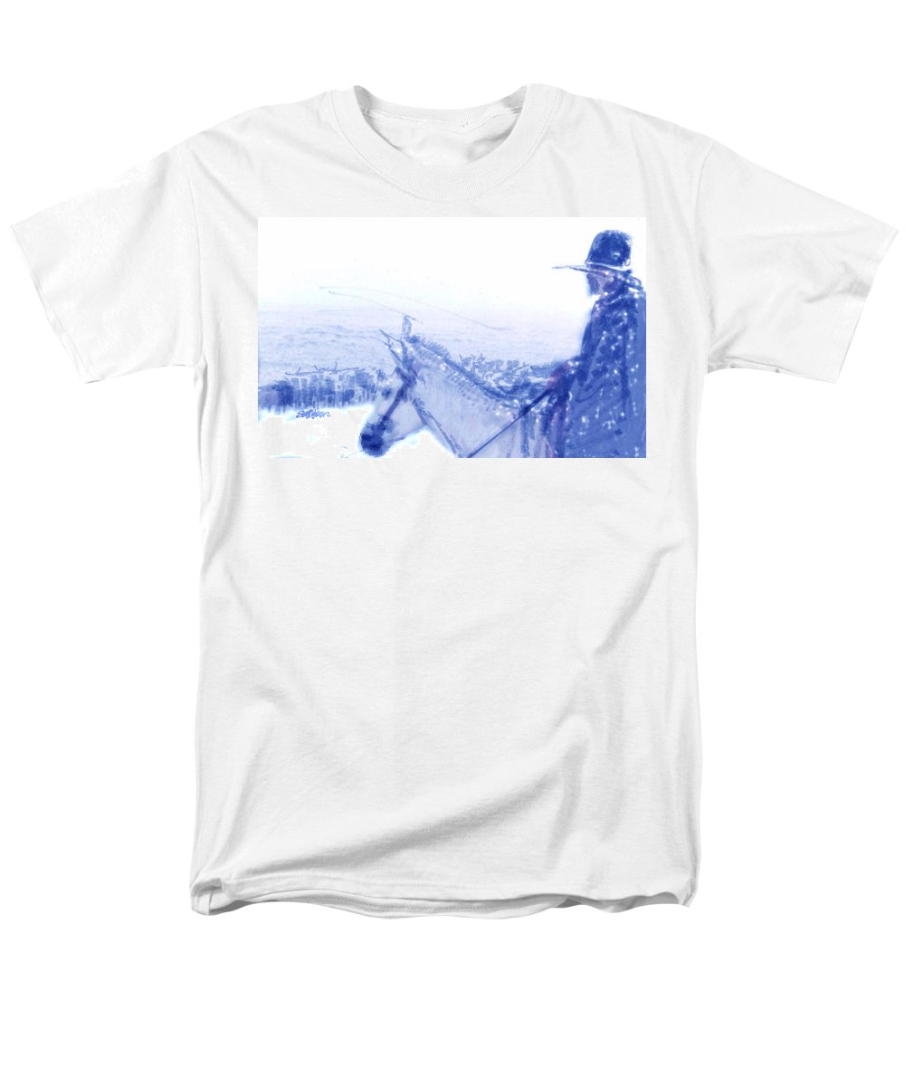 Capt. Call In A Snowstorm Men's T-Shirt (Regular Fit) featuring the drawing Capt. Call in a Snow Storm by Seth Weaver