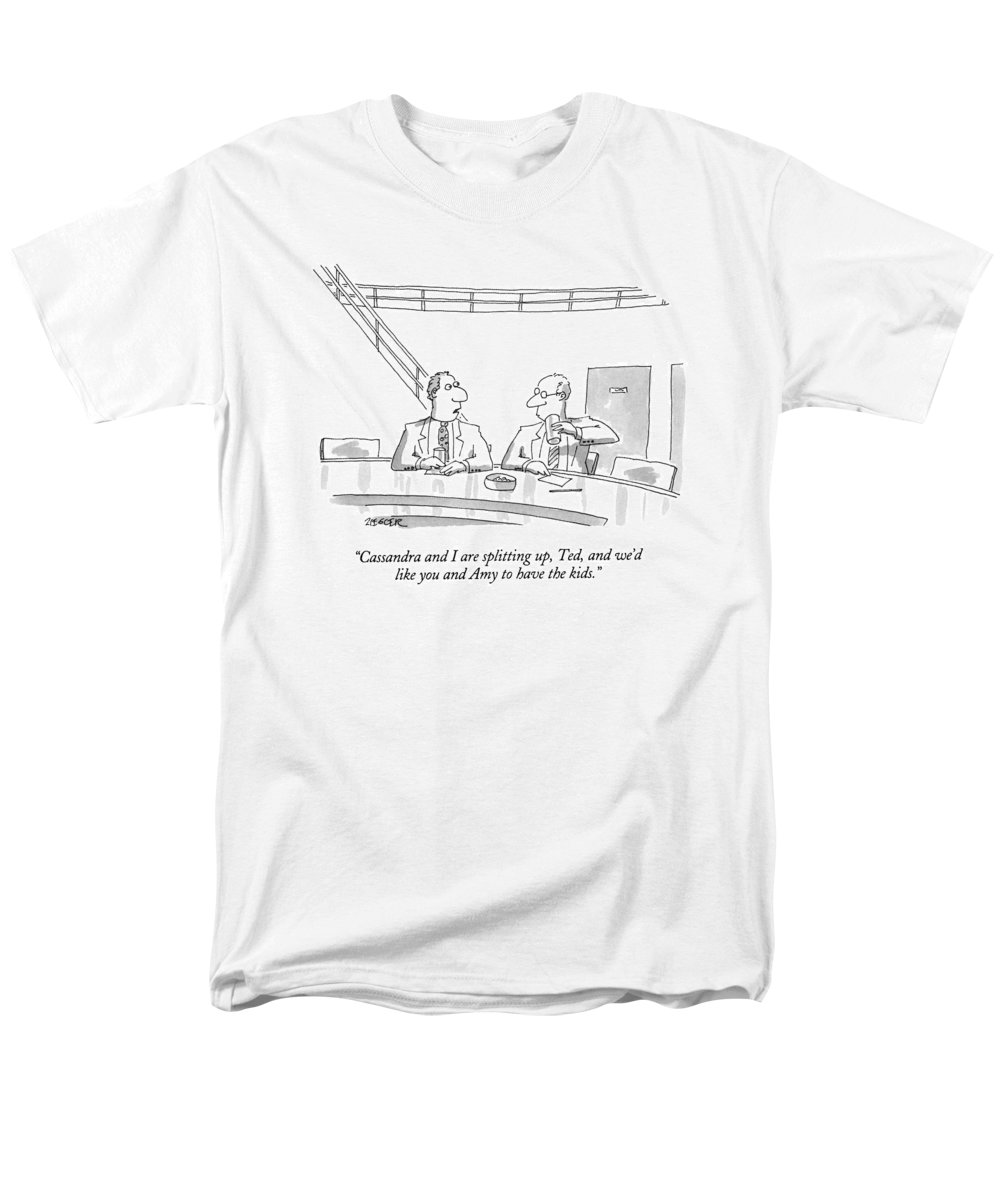 (man Talking To Friend At A Bar) Relationships Men's T-Shirt (Regular Fit) featuring the drawing Cassandra And I Are Splitting by Jack Ziegler