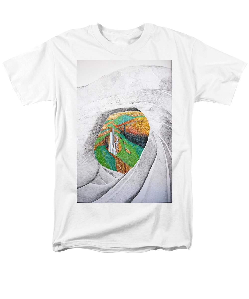 Rocks Men's T-Shirt (Regular Fit) featuring the painting Cornered Stones by A Robert Malcom