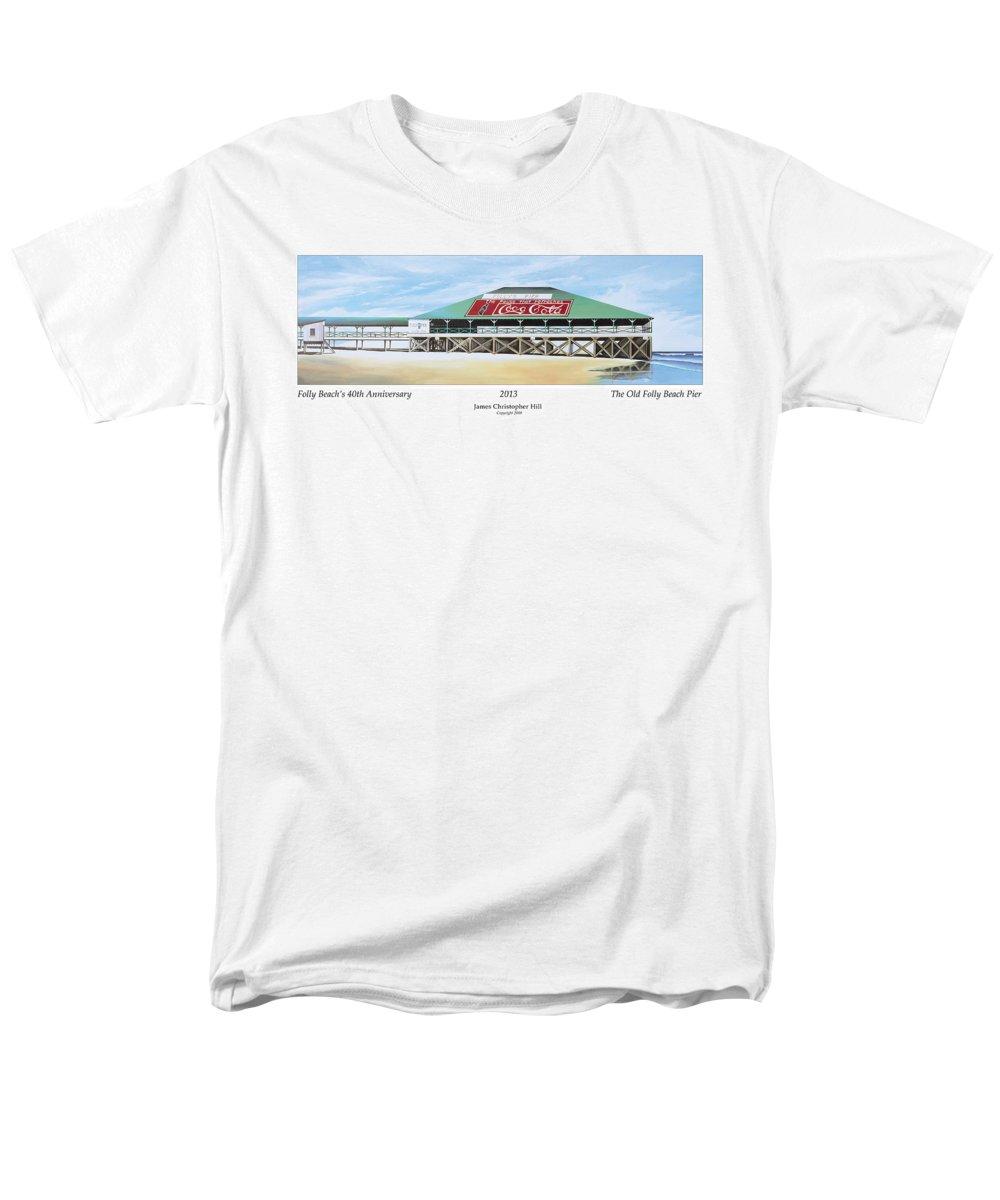 Sunrise Men's T-Shirt (Regular Fit) featuring the painting Folly Beach Original Pier by James Christopher Hill