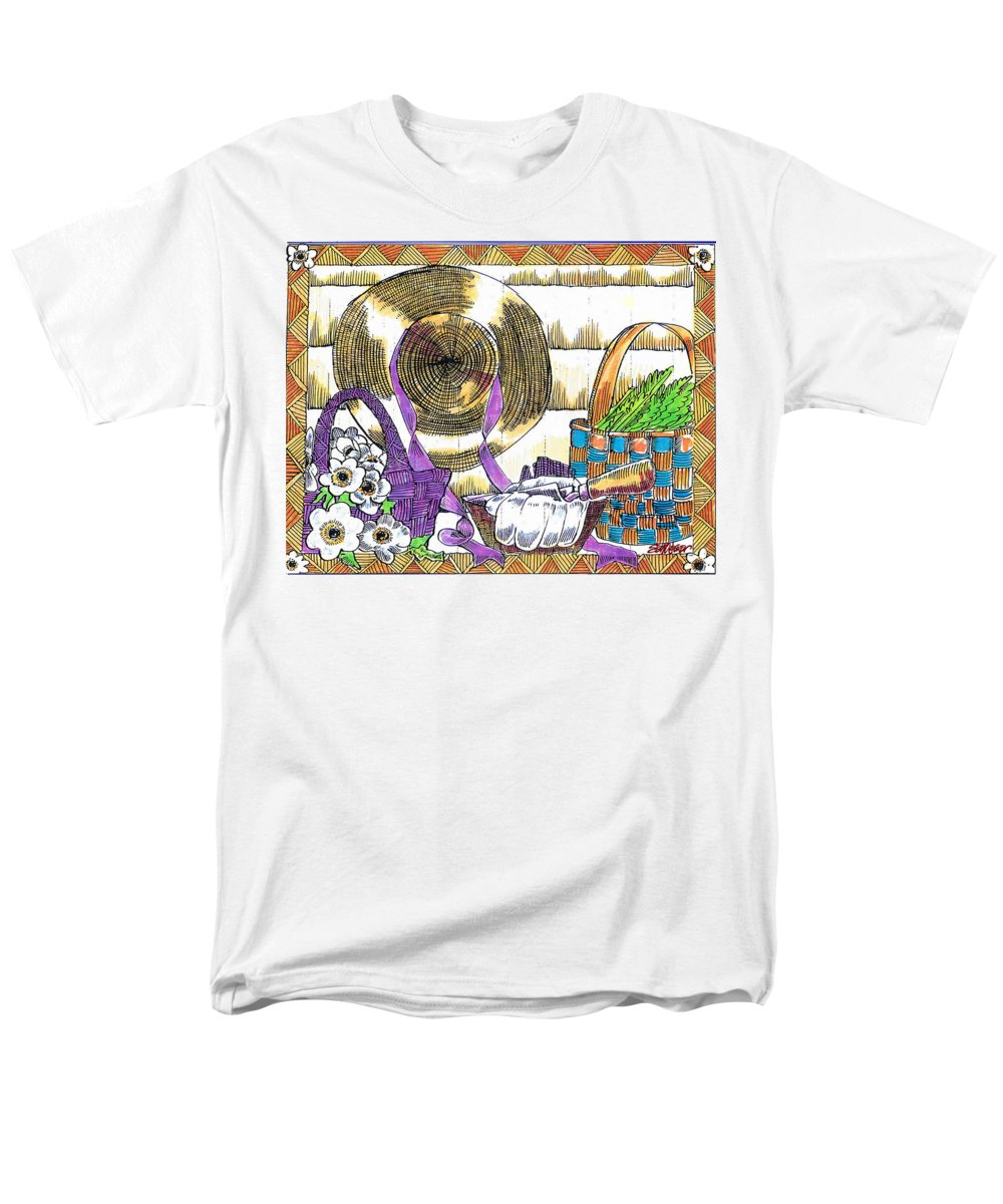 Gardener's Basket Men's T-Shirt (Regular Fit) featuring the drawing Gardener's Basket by Seth Weaver
