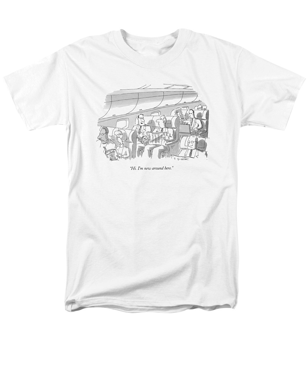 (man On Airplane Introducing Himself To Fellow Passenger) Travel Men's T-Shirt (Regular Fit) featuring the drawing Hi. I'm New Around Here by Jack Ziegler