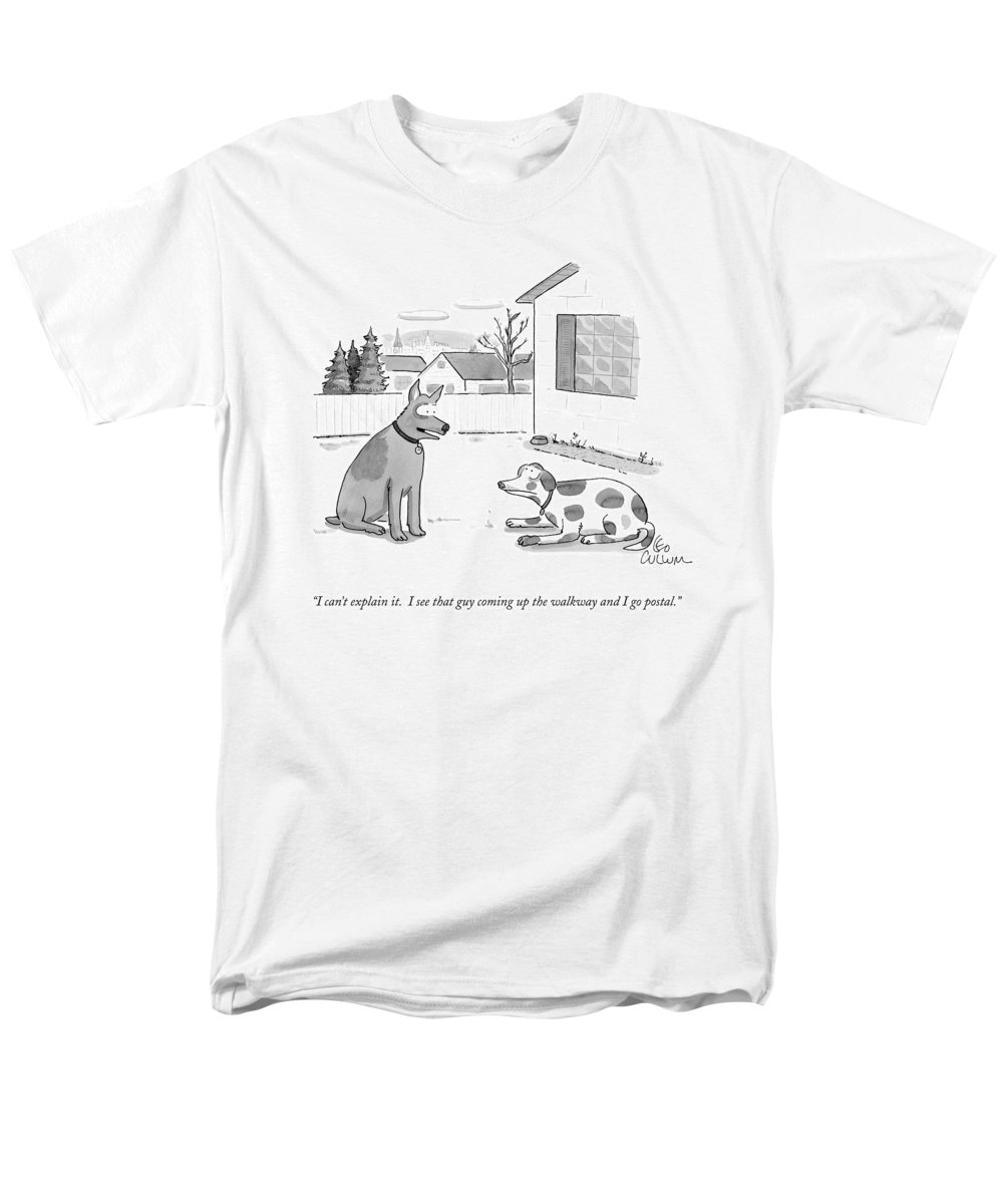 Post Office Men's T-Shirt (Regular Fit) featuring the drawing I Can't Explain It. I See That Guy Coming by Leo Cullum