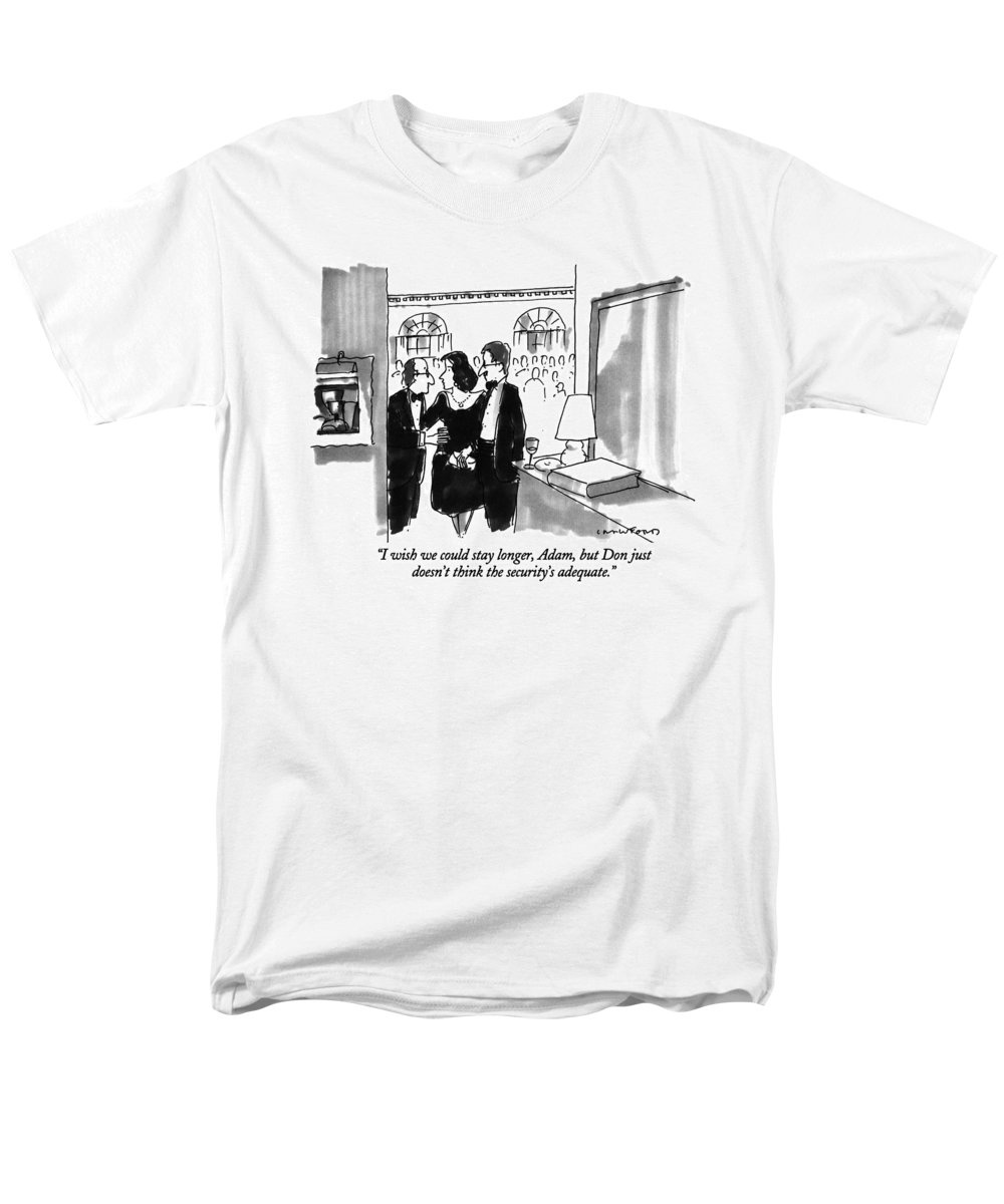 (couple Leaving Dinner Party) Couples Men's T-Shirt (Regular Fit) featuring the drawing I Wish We Could Stay Longer by Michael Crawford