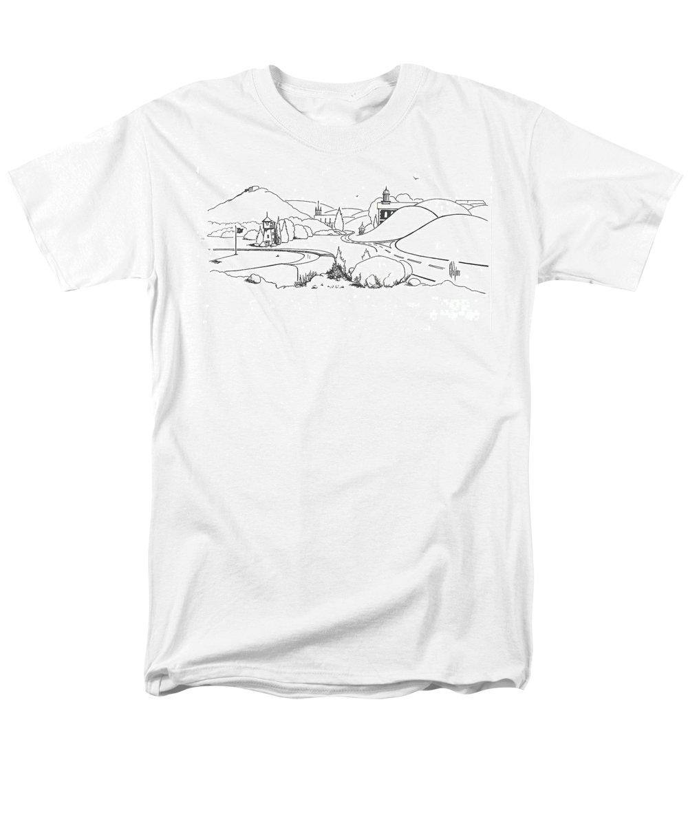 In The Land Of Brigadoon Men's T-Shirt (Regular Fit) featuring the drawing In the Land of Brigadoon by Kip DeVore