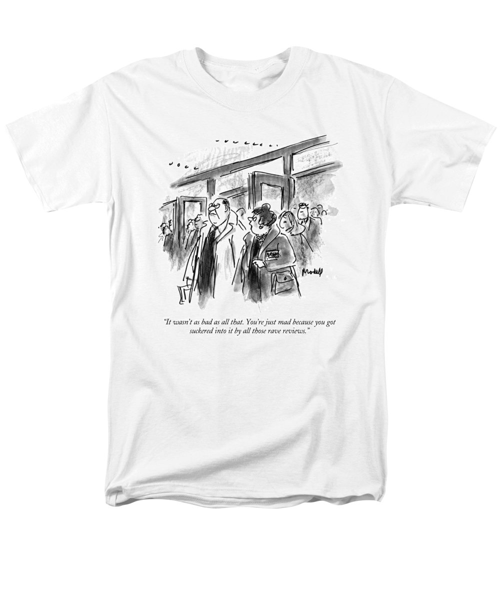 (woman Talking To Angry Husband As They Leave Theater) Entertainment Men's T-Shirt (Regular Fit) featuring the drawing It Wasn't As Bad As All That. You're Just Mad by Frank Modell