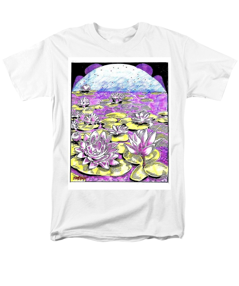 Lilies Of The Lake Men's T-Shirt (Regular Fit) featuring the drawing Lilies of the Lake by Seth Weaver