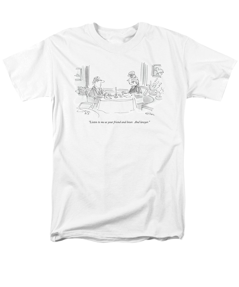 Relationships Men's T-Shirt (Regular Fit) featuring the drawing Listen To Me As Your Friend And Lover by Dean Vietor