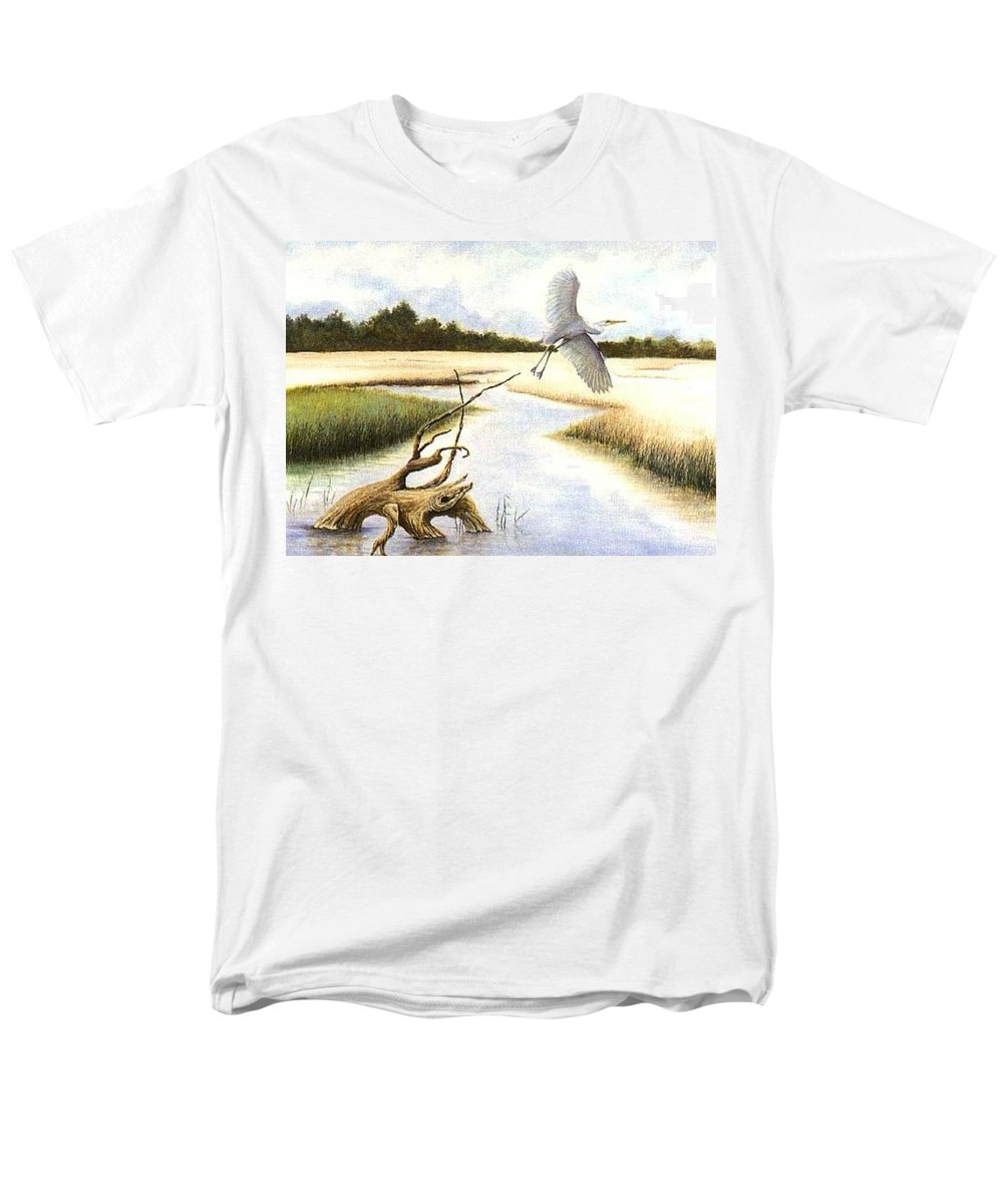 Egret Men's T-Shirt (Regular Fit) featuring the painting Low Country Marsh by Ben Kiger