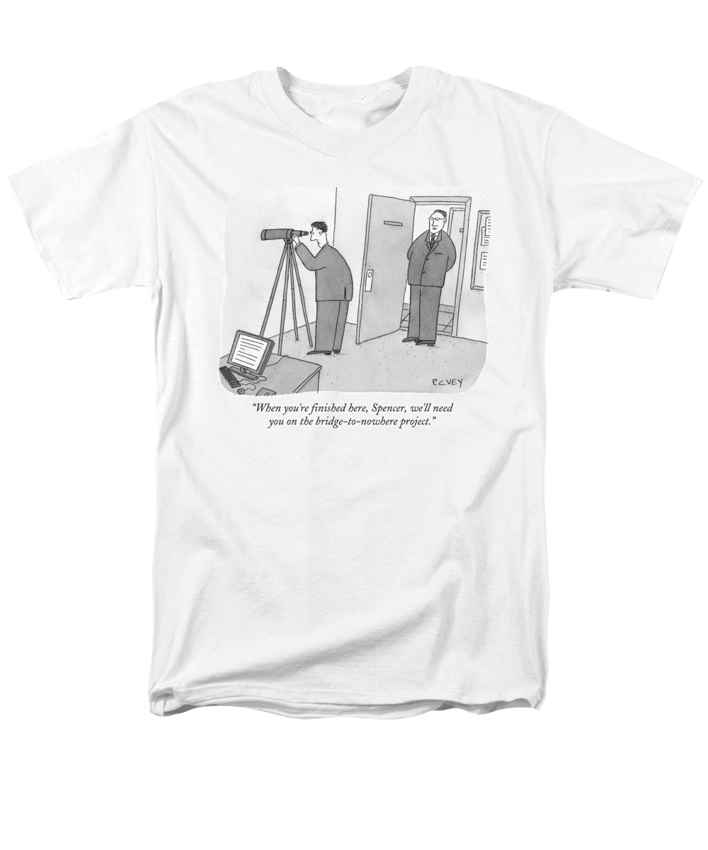 Spy Men's T-Shirt (Regular Fit) featuring the drawing Man Stares At Wall With Telescope by Peter C. Vey