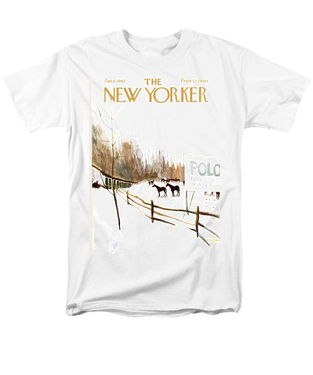 Suburb Men's T-Shirt (Regular Fit) featuring the painting New Yorker January 6th, 1962 by James Stevenson
