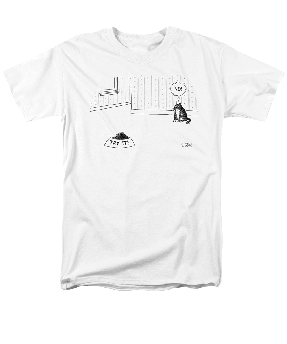 No Caption Men's T-Shirt (Regular Fit) featuring the drawing New Yorker June 17th, 1991 by Sam Gross