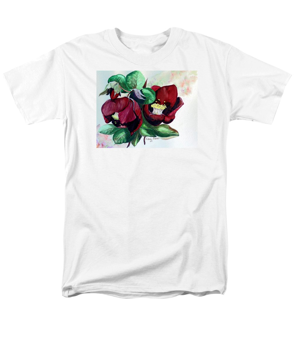 Red Helleborous Painting Flower Painting  Botanical Painting Watercolor Painting Original Painting Floral Painting Flower Painting Red Painting  Greeting Painting Men's T-Shirt (Regular Fit) featuring the painting Red Helleborous by Karin Dawn Kelshall- Best