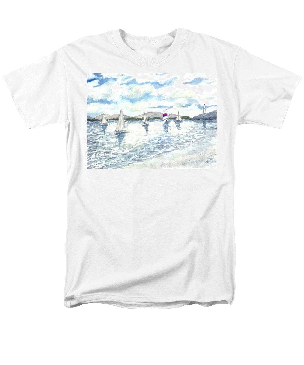 Sailboats Men's T-Shirt (Regular Fit) featuring the painting Sailboats by Derek Mccrea