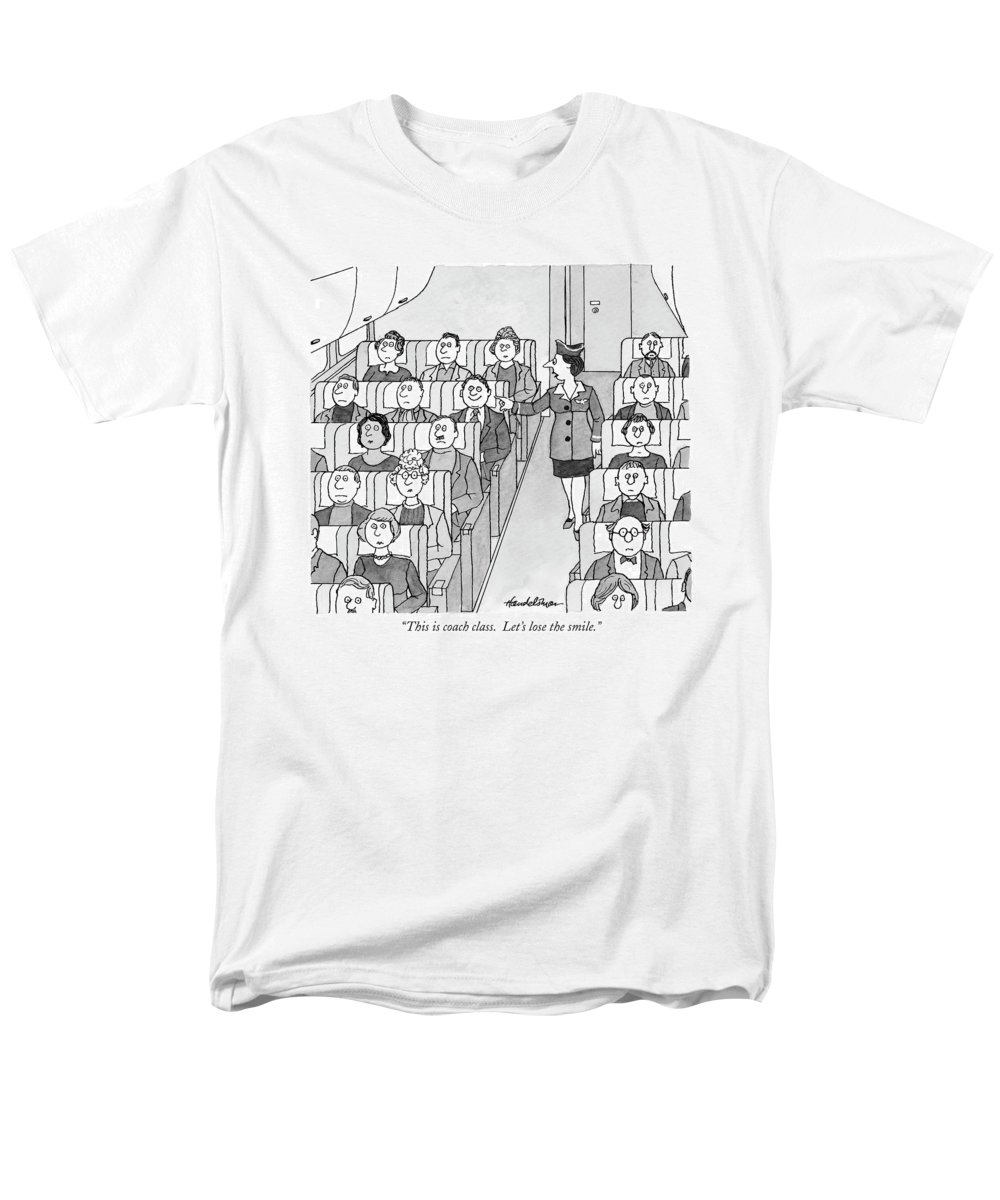 Airplanes -general Men's T-Shirt (Regular Fit) featuring the drawing This Is Coach Class. Let's Lose The Smile by J.B. Handelsman