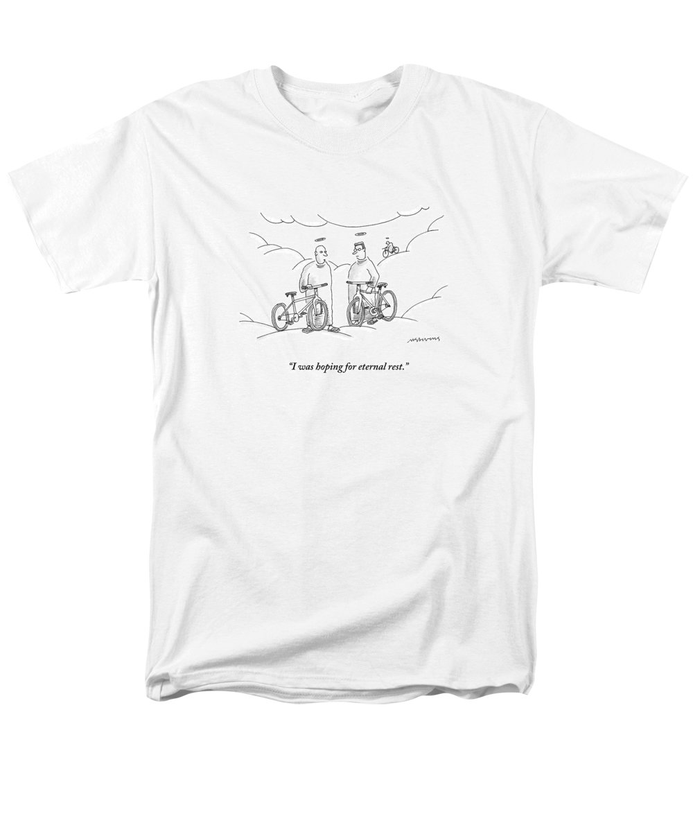 Angels Men's T-Shirt (Regular Fit) featuring the drawing Two Angels With Bicycles Converse. Another Angel by Mick Stevens
