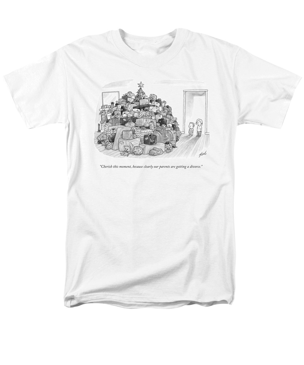 Christmas Presents Men's T-Shirt (Regular Fit) featuring the drawing Two Children by Tom Toro