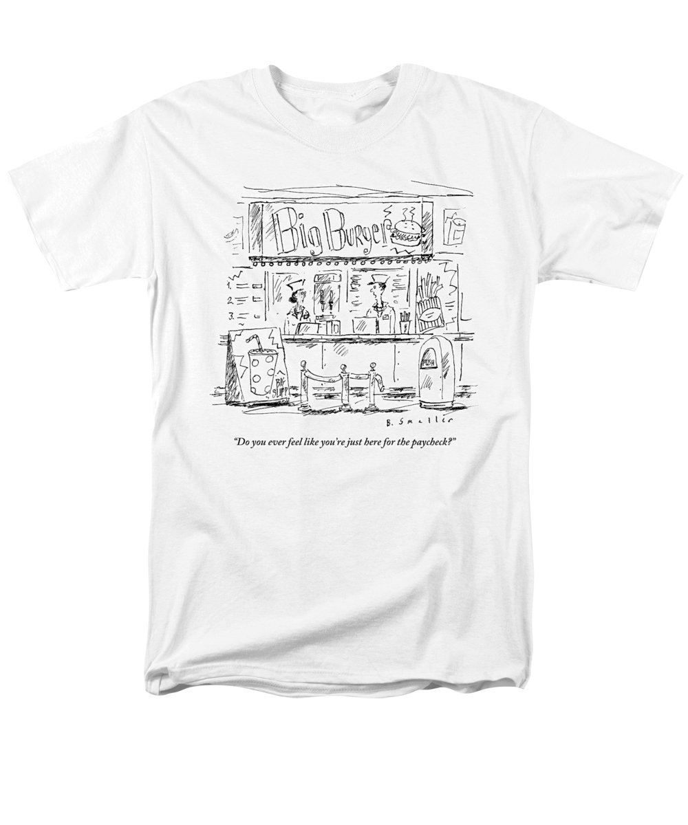 Cashier Men's T-Shirt (Regular Fit) featuring the drawing Two Employees Converse Within A Hamburger Stand by Barbara Smaller