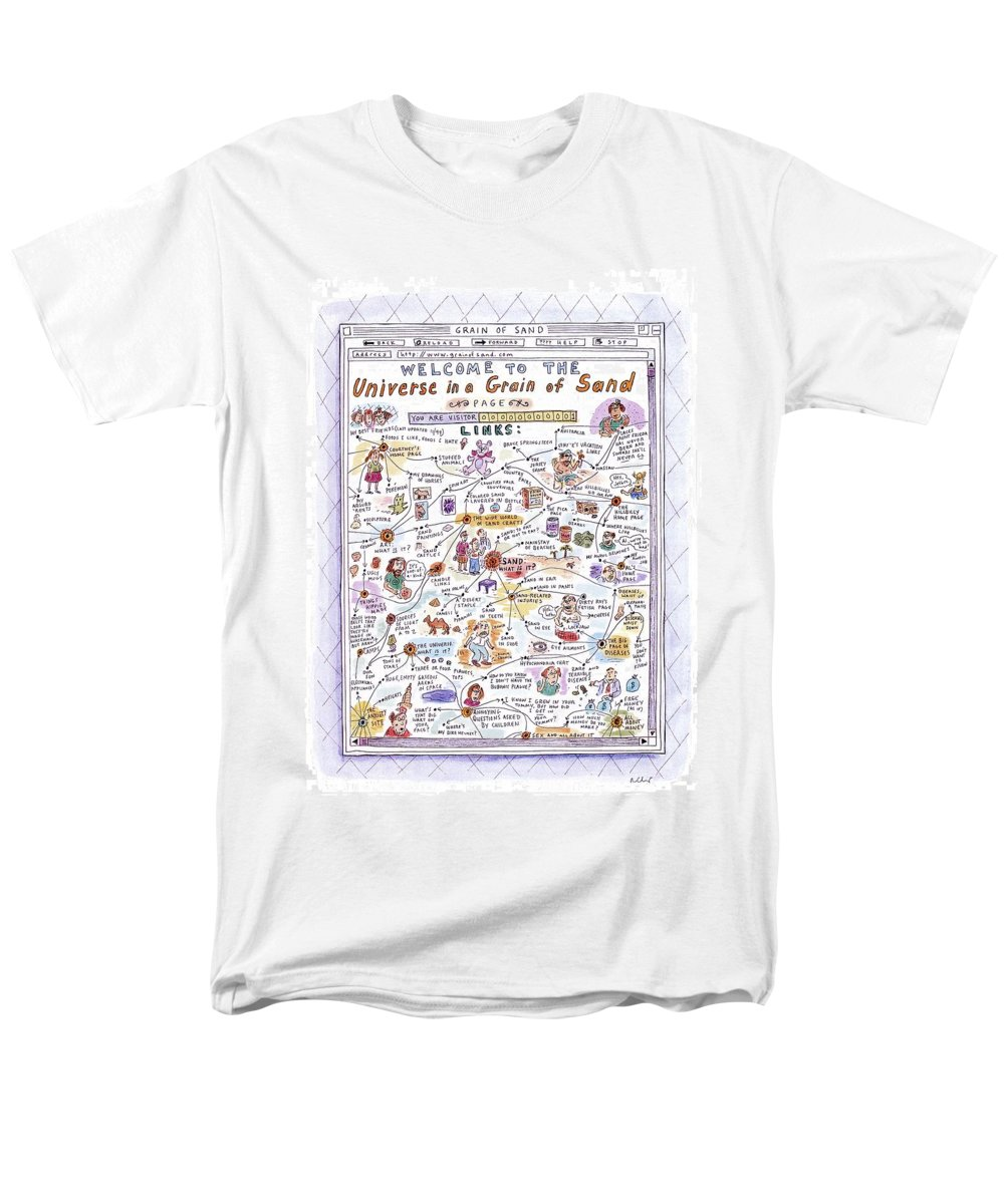Sand Men's T-Shirt (Regular Fit) featuring the drawing 'welcome To The Universe In A Grain Of Sand' by Roz Chast