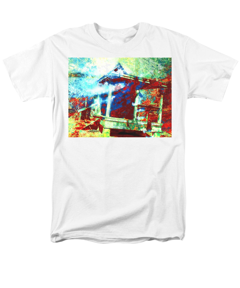 Cabin In The Fog Men's T-Shirt (Regular Fit) featuring the digital art Cabin in the Fog by Seth Weaver