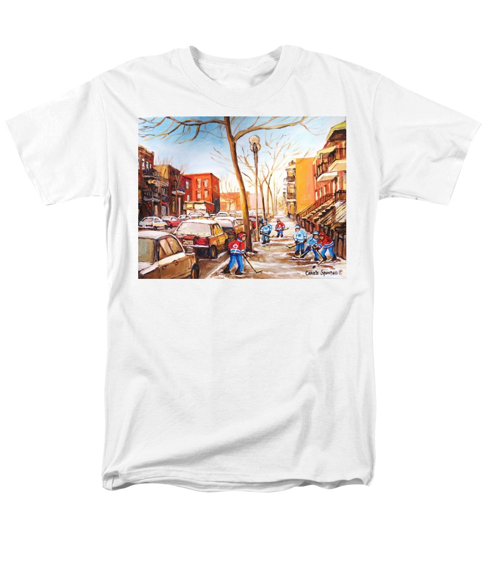 Montreal Street Scene With Boys Playing Hockey Men's T-Shirt (Regular Fit) featuring the painting Montreal street with six boys playing hockey by Carole Spandau