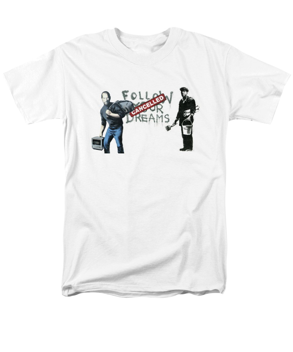 'urban Graffiti' Collection By Serge Averbukh Men's T-Shirt (Regular Fit) featuring the photograph Banksy - The Tribute - Follow Your Dreams - Steve Jobs by Serge Averbukh