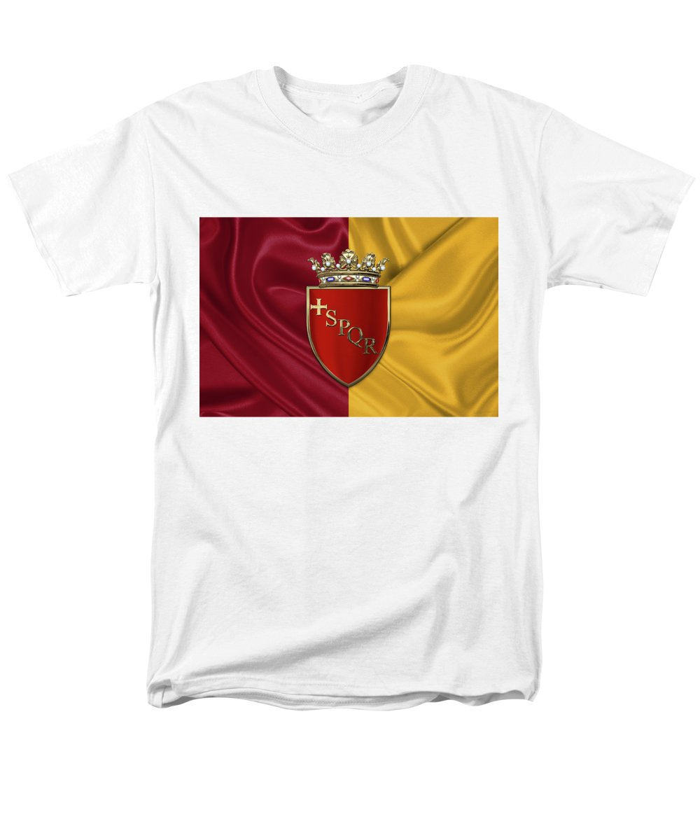 Rome Has The Status Of A Global City. Monuments And Museums Such As The Vatican Museums And The Colosseum Are Among The World's Most Visited Tourist Destinations With Both Locations Receiving Millions Of Tourists A Year. Rome Hosted The 1960 Summer Olympics And Is The Seat Of United Nations' Food And Agriculture Organization (fao). Men's T-Shirt (Regular Fit) featuring the photograph Coat Of Arms Of Rome Over Flag Of Rome by Serge Averbukh