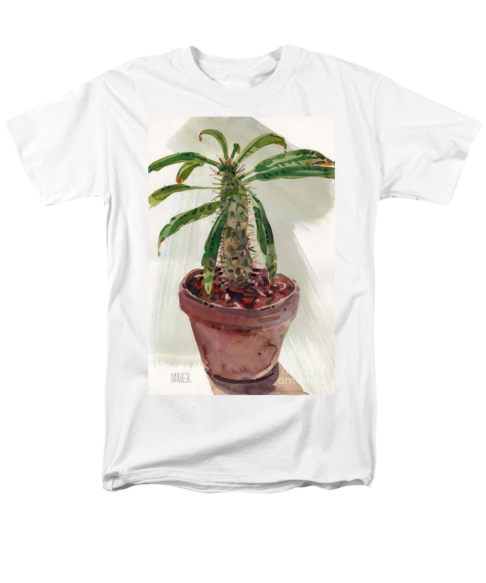Euphorbia Men's T-Shirt (Regular Fit) featuring the painting Pachypodium by Donald Maier