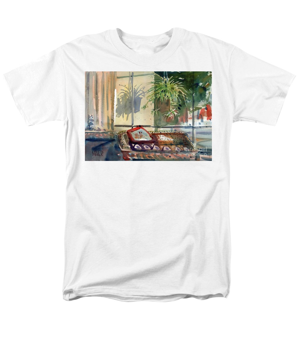 Spider Plant Men's T-Shirt (Regular Fit) featuring the painting Spider Plant in the Window by Donald Maier