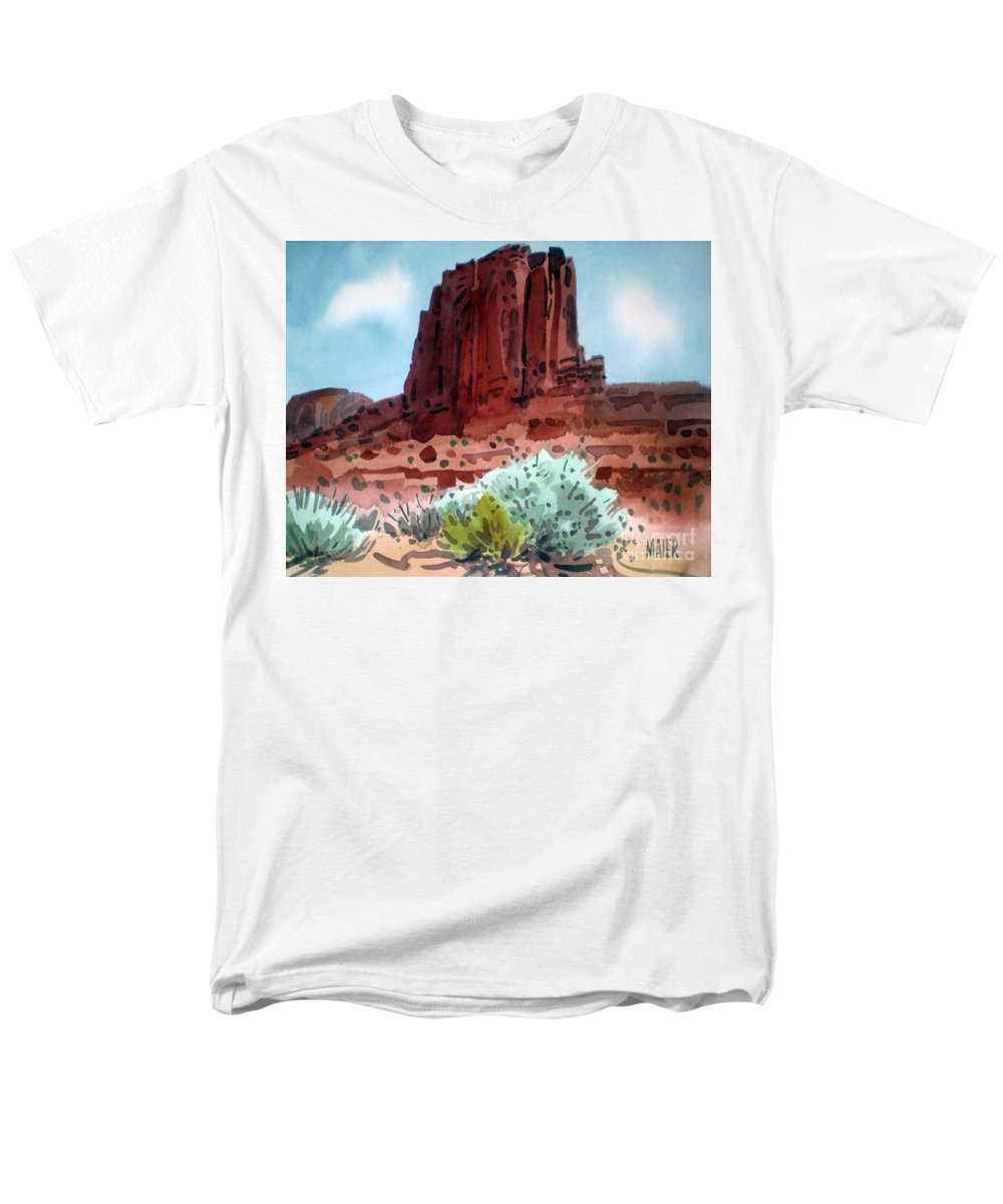 Elephants Butte Men's T-Shirt (Regular Fit) featuring the painting Two Elephants Butte by Donald Maier