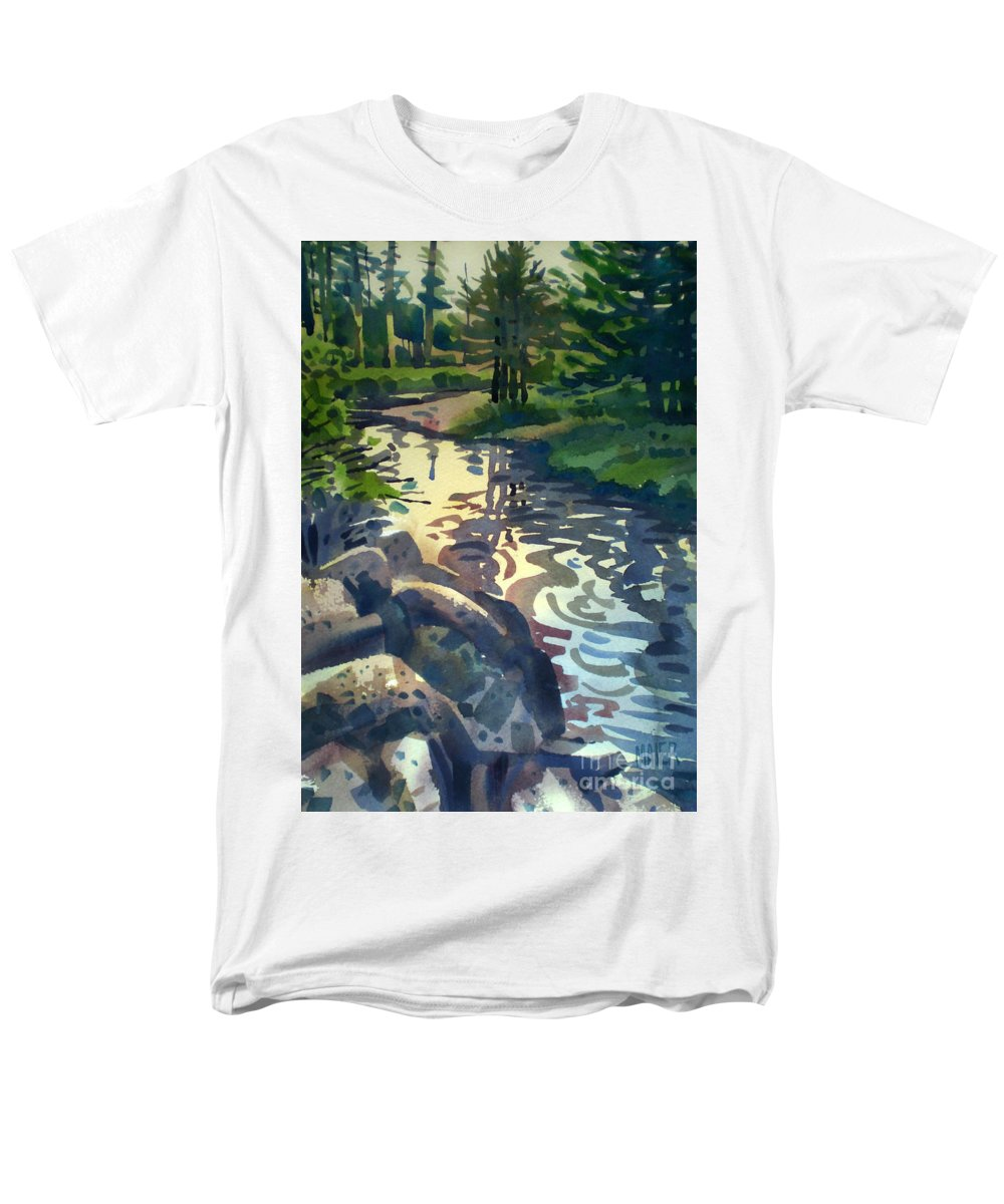 Stream Men's T-Shirt (Regular Fit) featuring the painting Up With The Fishes by Donald Maier