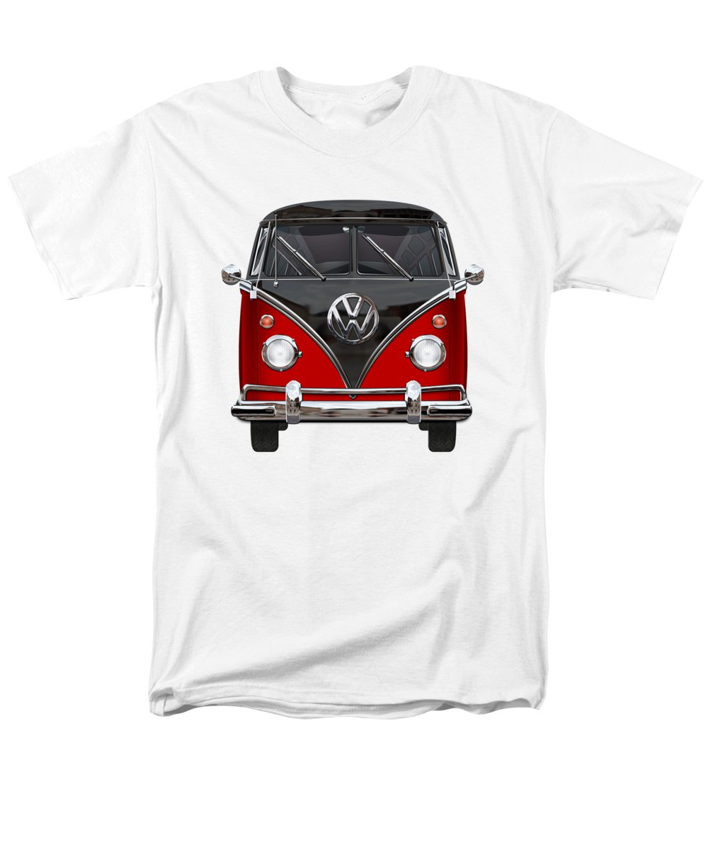 'volkswagen Type 2' Collection By Serge Averbukh Men's T-Shirt (Regular Fit) featuring the photograph Volkswagen Type 2 - Red And Black Volkswagen T 1 Samba Bus On White by Serge Averbukh