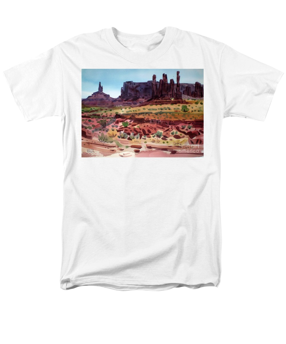 Monument Valley Men's T-Shirt (Regular Fit) featuring the painting Totem Poles by Donald Maier