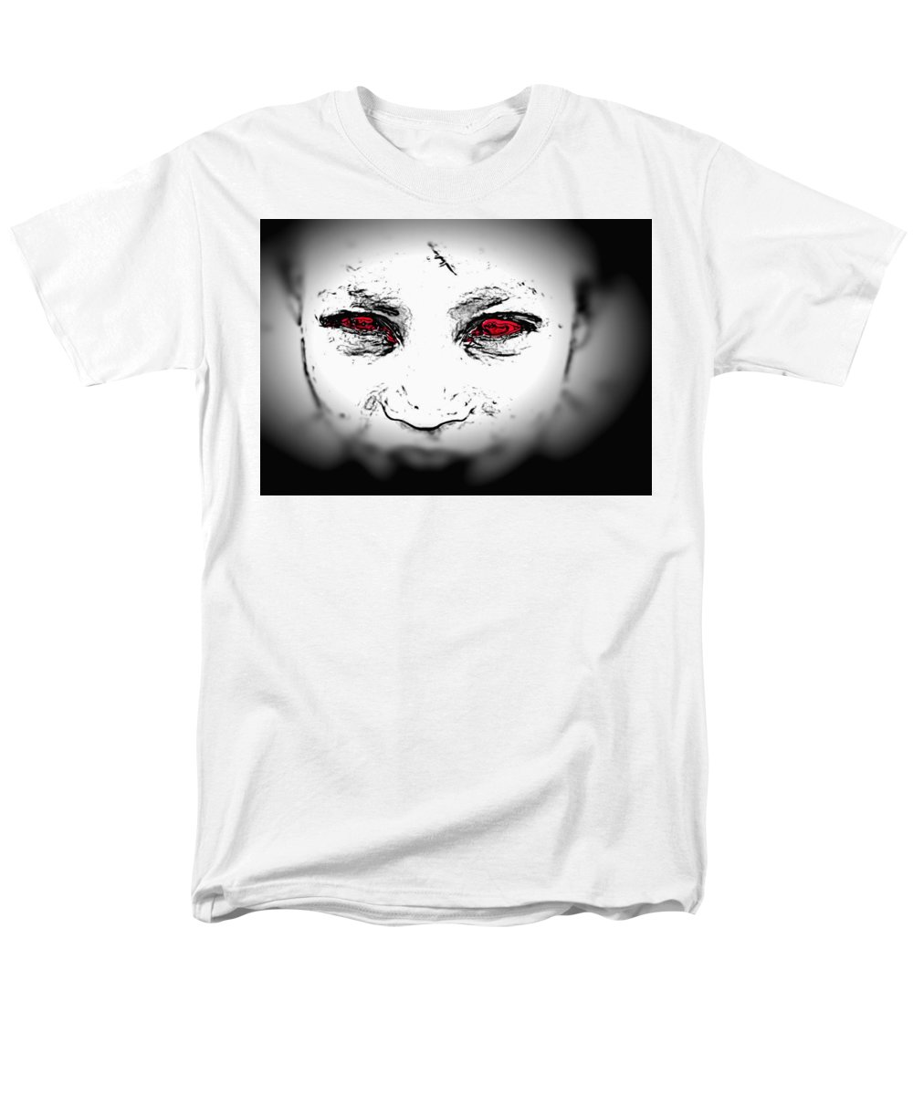 Eyes Face Looks Black And White Red Men's T-Shirt (Regular Fit) featuring the digital art Untitled 2 by Veronica Jackson