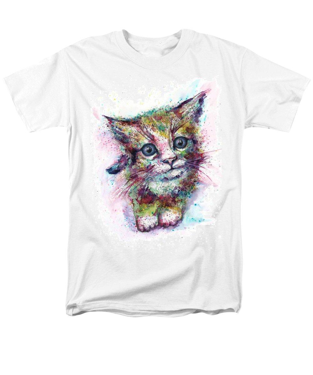 Cat Painting Men's T-Shirt (Regular Fit) featuring the painting Cat Fantasy by Natalja Picugina