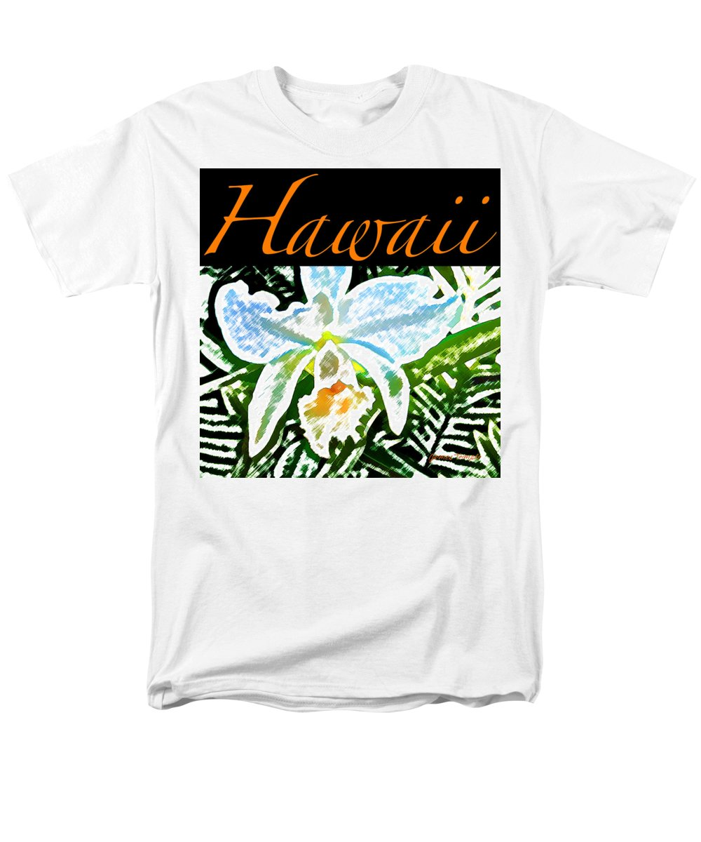 Hawaii T-shirt Men's T-Shirt (Regular Fit) featuring the digital art White Orchid by James Temple