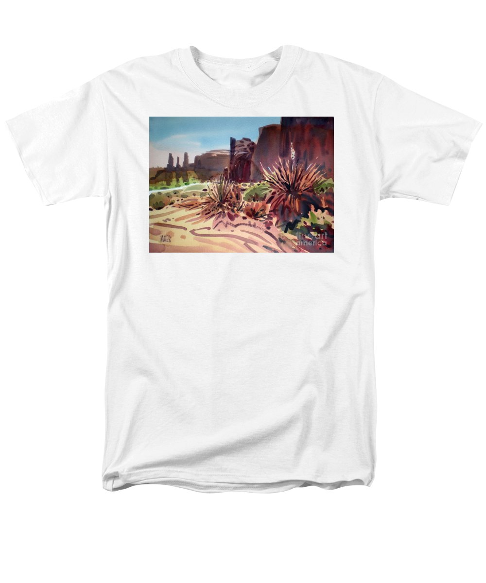 Monument Valley Men's T-Shirt (Regular Fit) featuring the painting Across Monument Valley by Donald Maier