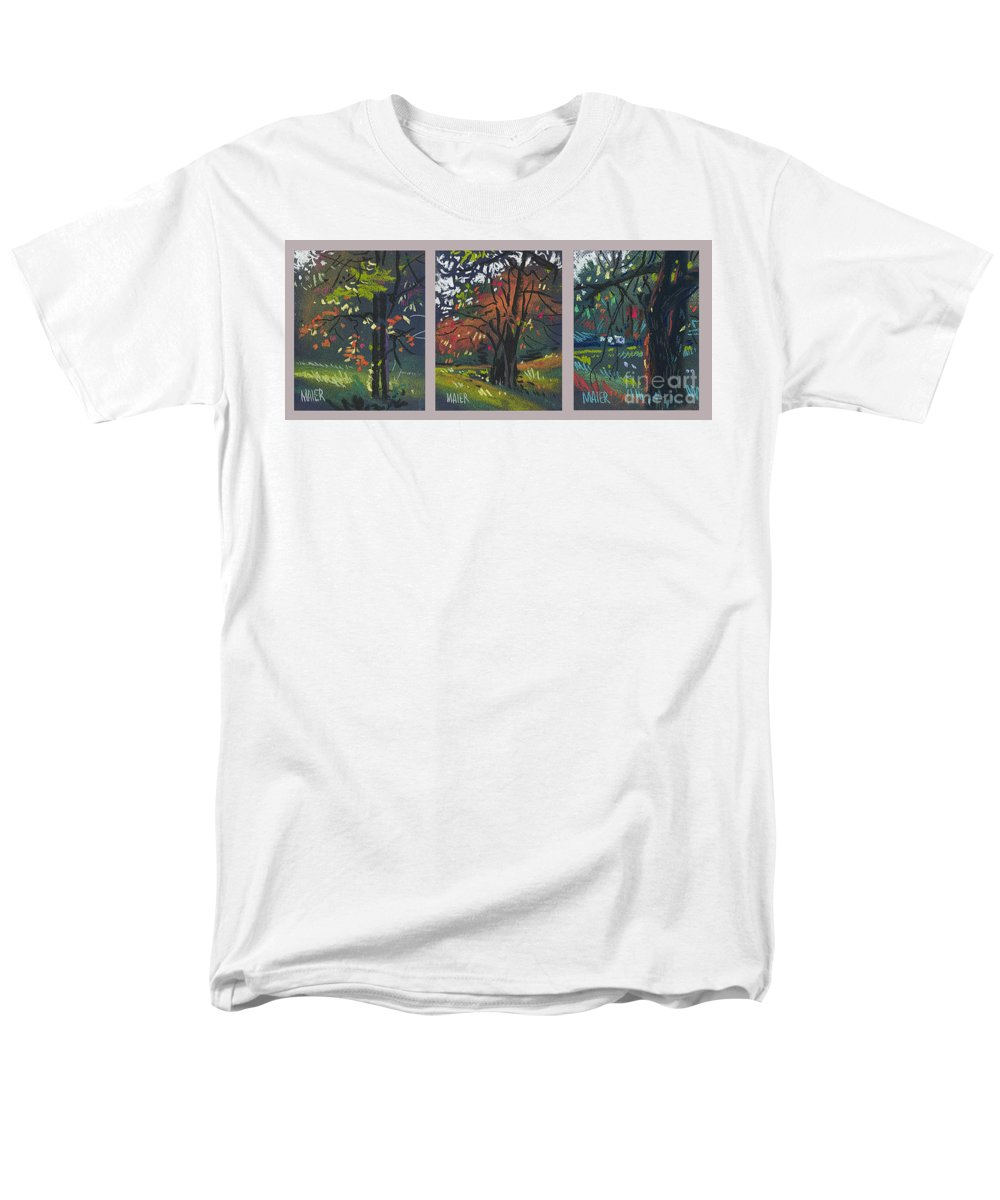 Autumn Foliage Men's T-Shirt (Regular Fit) featuring the painting Across The Creek Triplet by Donald Maier