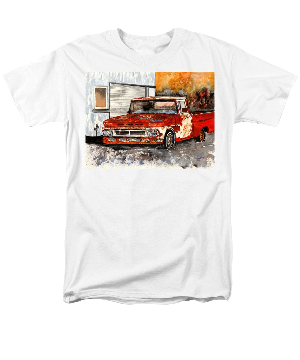 Transportation Men's T-Shirt (Regular Fit) featuring the painting Antique Old Truck Painting by Derek Mccrea