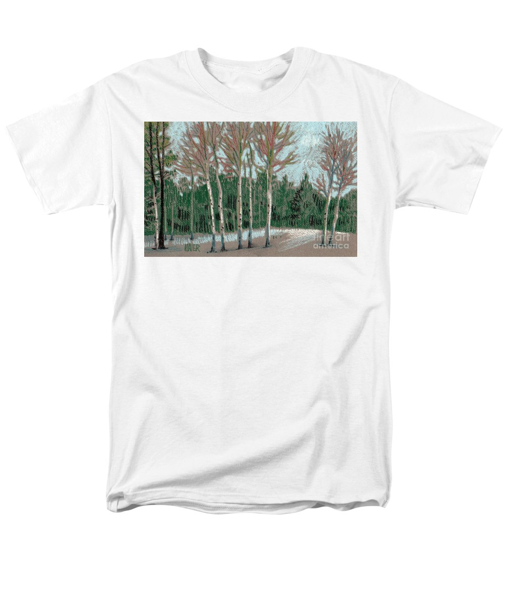 Aspens Men's T-Shirt (Regular Fit) featuring the drawing Aspen in the Snow by Donald Maier