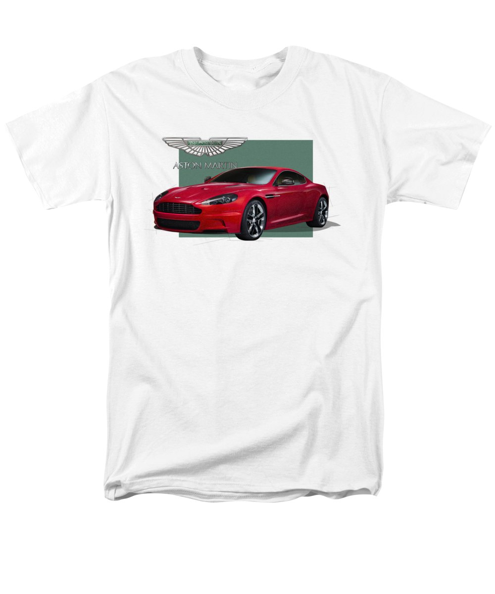 �aston Martin� By Serge Averbukh Men's T-Shirt (Regular Fit) featuring the photograph Aston Martin D B S V 12 With 3 D Badge by Serge Averbukh